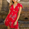 Deep Wrapped V Neck Mini Floral Dress - Red