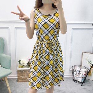Printed Checks Flared Hem Sleeveless Mini Dress - Yellow