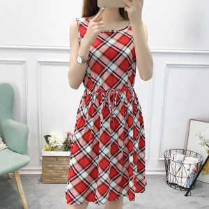 Printed Checks Flared Hem Sleeveless Mini Dress - White Red