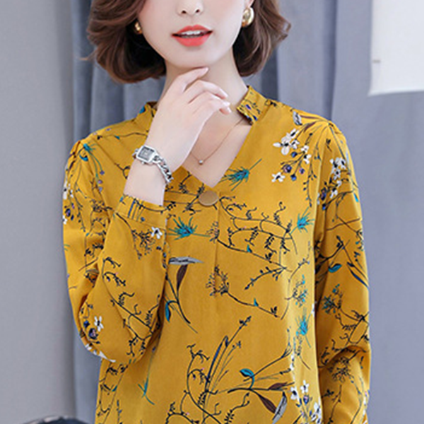 V Neck Floral Prints Formal Shirt - Yellow