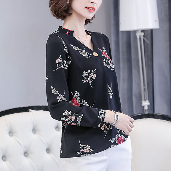 V Neck Black Formal Shirt - Rose Prints