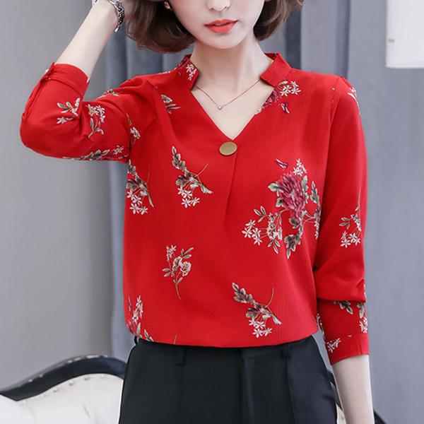 V Neck Floral Prints Formal Shirt - Red