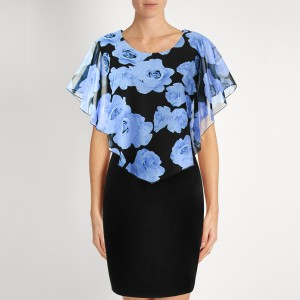 Rose Printed Slim Black Mini Dress - Sky Blue