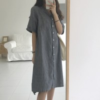 Suit Neck Loose Casual Wear Long Dress - Grey