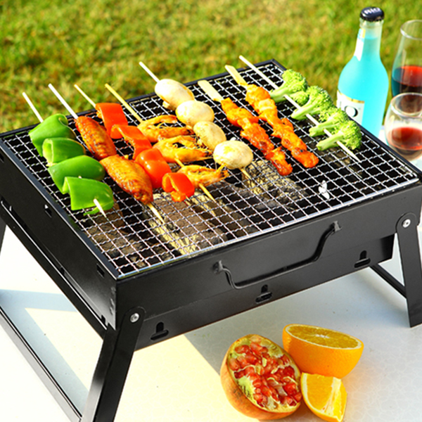 Household Outdoor Portable Stainless Steel Grill - Black