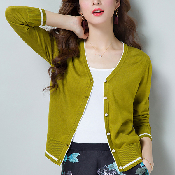 Long Sleeve V-neck Knitted Women Thin Sweaters - Green