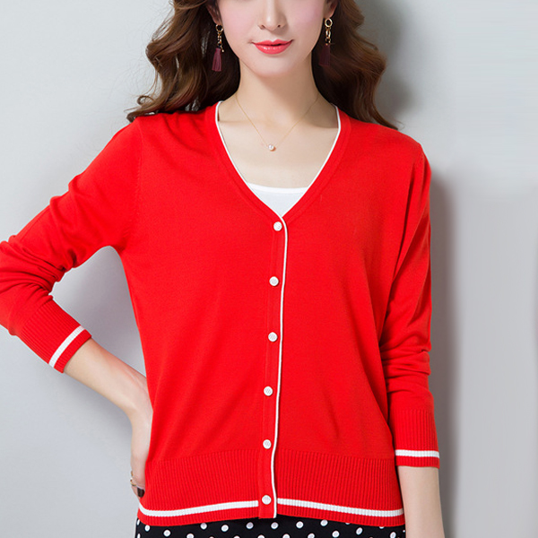 Long Sleeve V-neck Knitted Women Thin Sweaters - Red