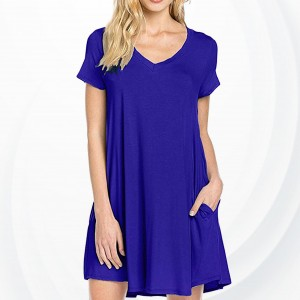 V Neck Sleeveless A-Line Pleated Mini Dress - Blue
