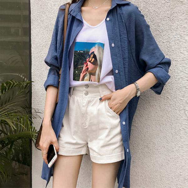 Button Up Casual Wear Shirt Collar - Blue