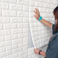 3D Brick Wall Stickers Self Decor Foam Waterproof Wall Covering Wallpaper For TV Background Kids Living Room - White