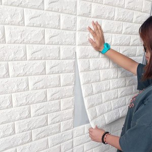 Stereo Waterproof Bricks Wall Paste 3D Wall paper - White