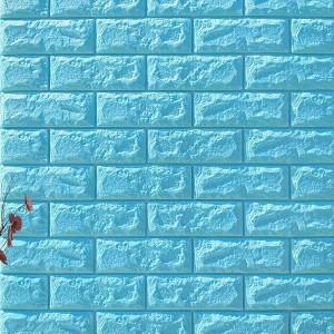 3D Brick Wall Stickers Self Decor Foam Waterproof Wall Covering Wallpaper For TV Background Kids Living Room - Blue