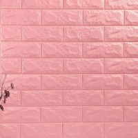 Stereo Waterproof Bricks Wall Paste 3D Wall paper - Pink