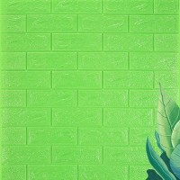 3D Brick Wall Stickers Self Decor Foam Waterproof Wall Covering Wallpaper For TV Background Kids Living Room - Green