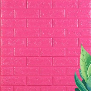 Stereo Waterproof Bricks Wall Paste 3D Wall paper - Hot Pink