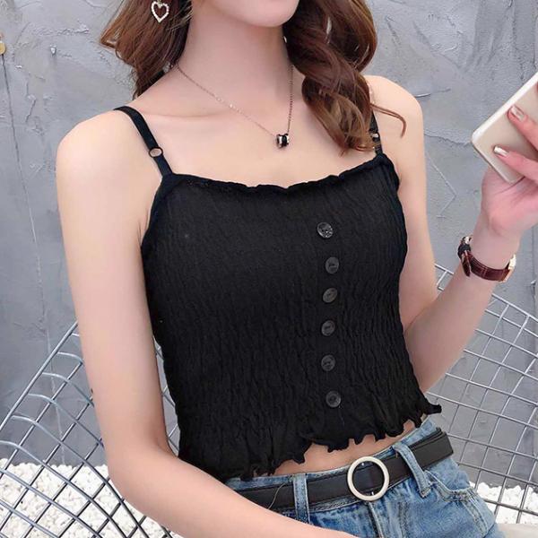 Strap Shoulder Button Up Mini Blouse Shirt - Black