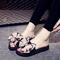 Butterfly Flower Flat Bottom Platform Women Slipper - Pink