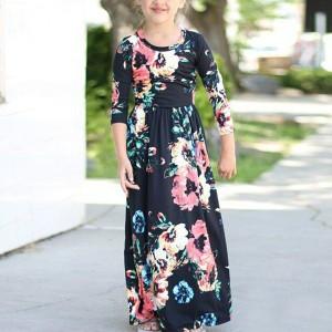 Kids Wear Floral Printed Dress - Black