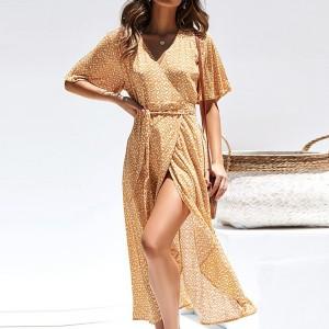 Thin Fabric Printed Beach Wear Wrapped Dress - Yellow