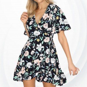 Floral Prints Frilled Sleeves Mini Beach Dress - Black