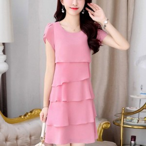 Round Neck Short Sleeves Ruffled Mini Dress - Pink