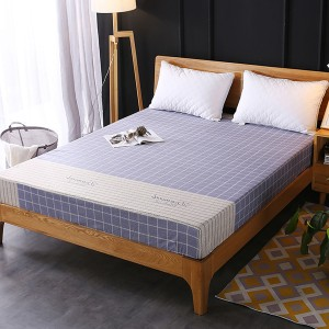 Checks Printed Fitted Bed Sheet With Elastic Band - Blue