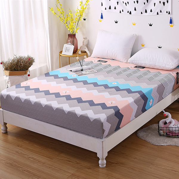 Zig Zag Printed Quality Cotton Bed Cover Sheet with elastic band