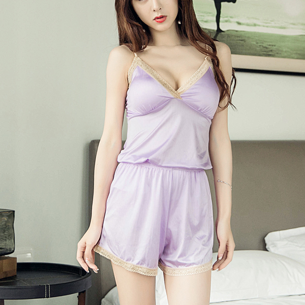 Backless Two Pieces Night Wear Suit - Purple