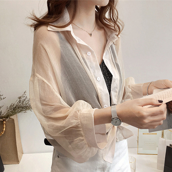 Thin Fabric Shirt Collar Casual Shirt - Apricot