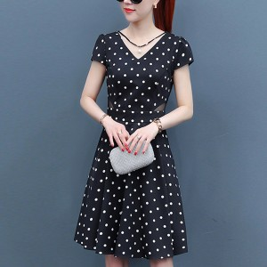 Pearl Lining Pattern A-Line Mini Dress - Polka Dots