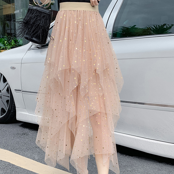 Irregular Mesh Party Wear Solid Skirt - Apricot