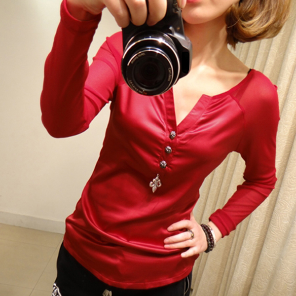 Bohemian Button Up Casual Wear Blouse Top - Red
