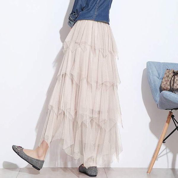 Ruffled Solid Color Flared Casual Skirt - Apricot
