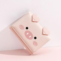 Tri-fold Cartoon Printed Multi-card Holder Wallets - Pink
