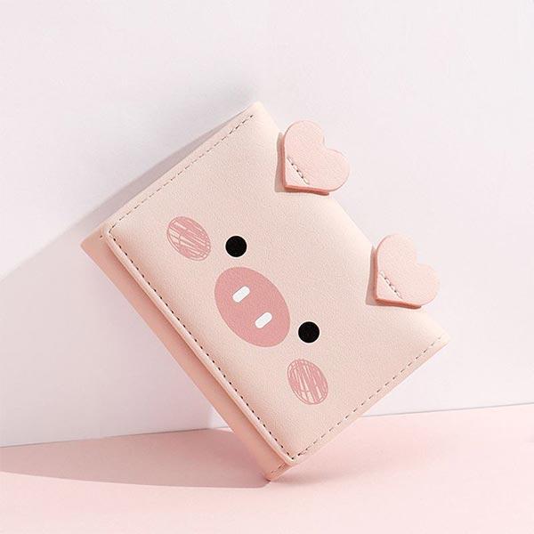 Tri-fold Cartoon Printed Multi-card Holder Wallets - Pink