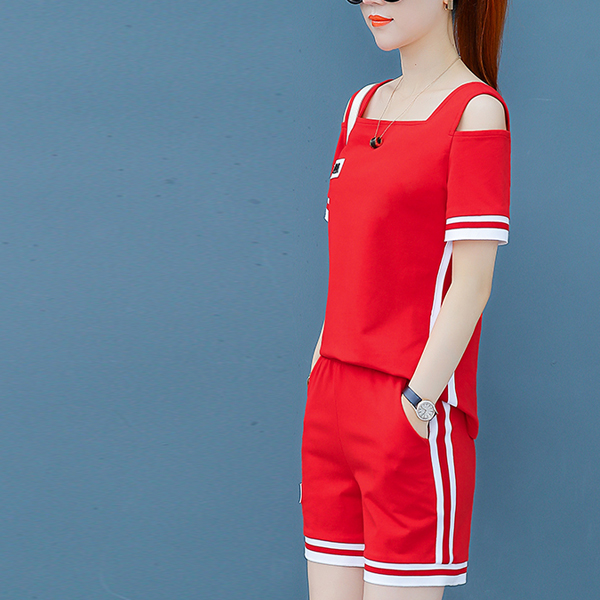 Square Cold Shoulder Two Pieces Sports Suit - Red