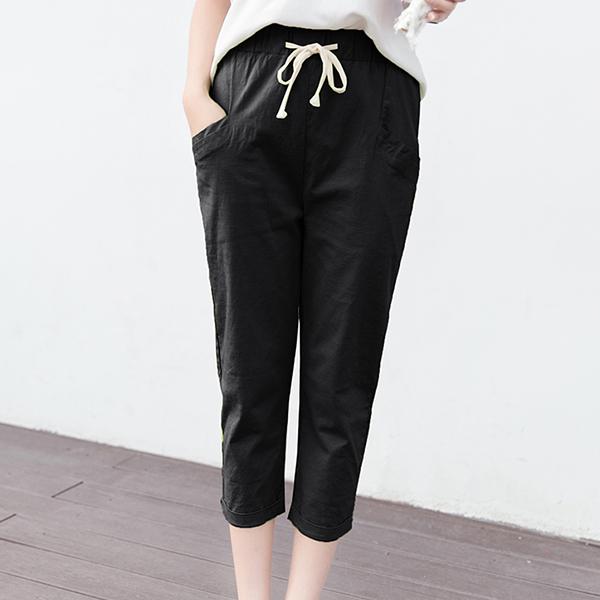 String Waist Narrow Bottom Short Trousers - Black