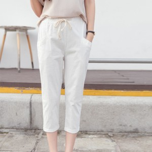 String Waist Narrow Bottom Short Trousers - White