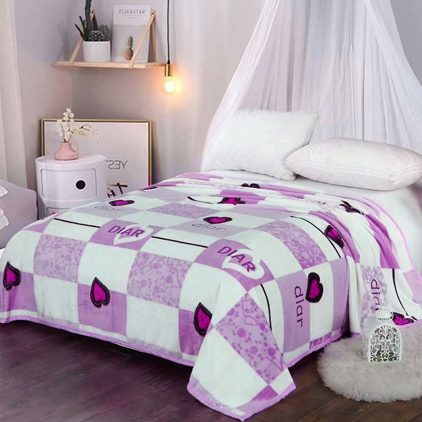 Bedroom Essentials Printed Thin Blanket - Purple Hearts