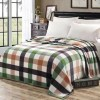 Bedroom Essentials Printed Thin Blanket - Green Checks