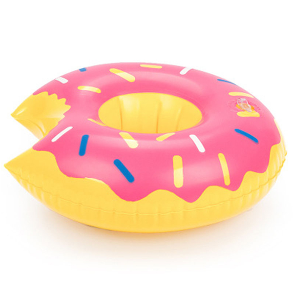 Round Inflatable Donut Drink Holder For Pool - Pink