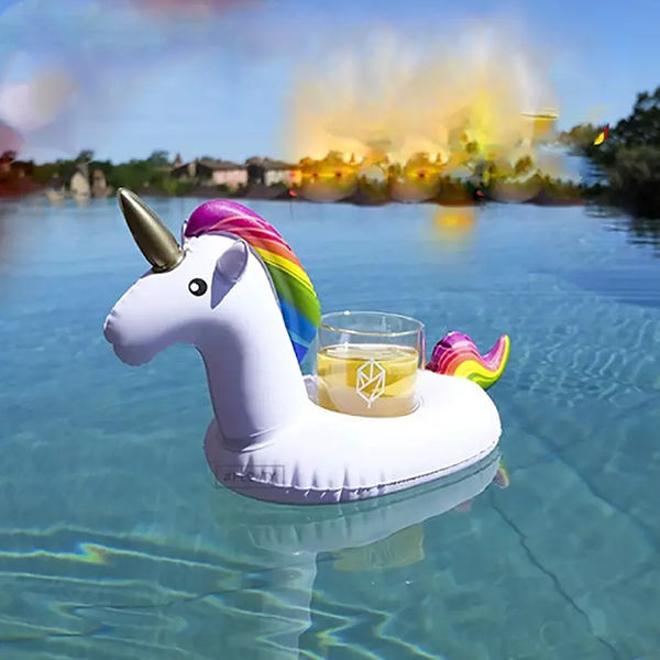 Unicorn Multicolor Inflatable Pool Drink Holder
