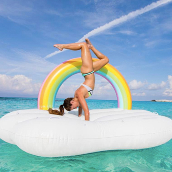 Inflatable Cloud With Rainbow Giant Swimming Floater