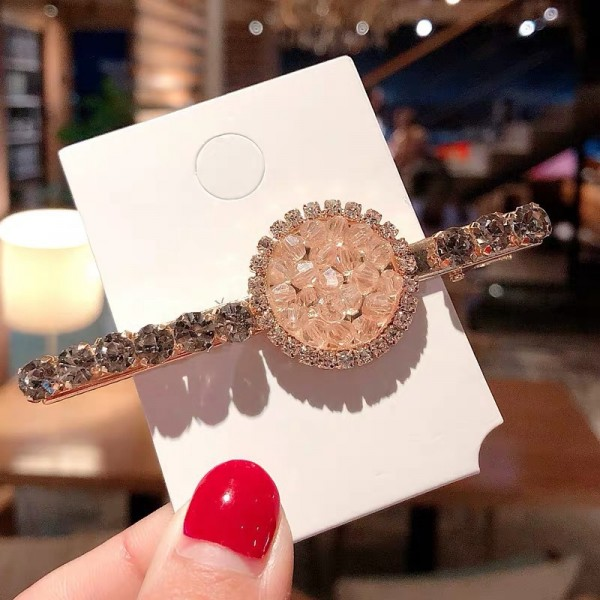Crystal Decorative Party Wear Hair Clips - Pink