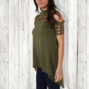 Irregular Stand Up Neck Casual Top - Green