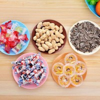Fancy Multicolor Smart Size Snacks Plate - One Piece