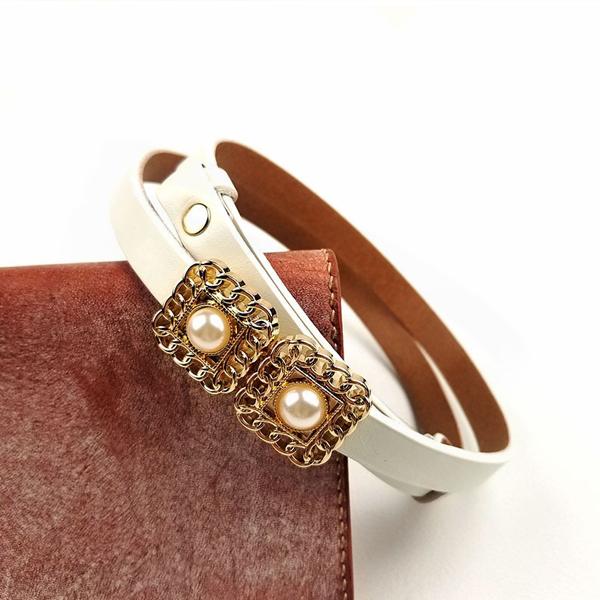 Hook Closure Pearl Fancy Wear Women Belts - White