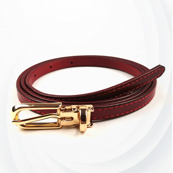 Suede Leather Buckle Formal Belt For Women - Burgundy