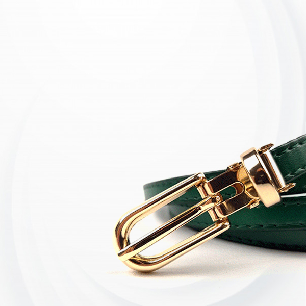 Suede Leather Buckle Formal Belt For Women - Green