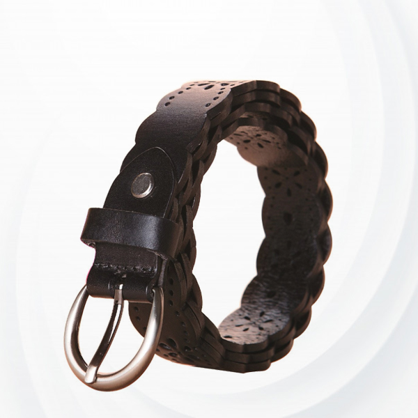 Hollow Wavy Buckle Leather Belts For Women - Brown
